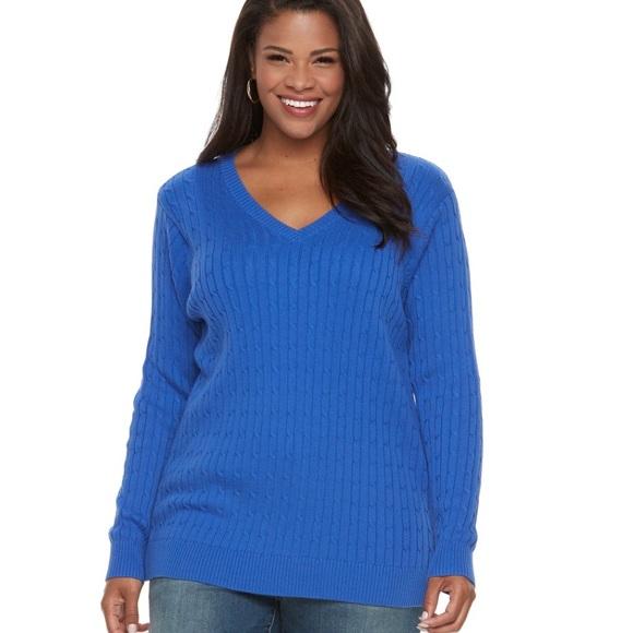 Plus Size CROFT   BARROW Cable-Knit V-Neck Sweater 05e33f5a4